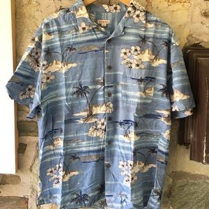 Light Blue Classic Hawaiian Print Top men's large